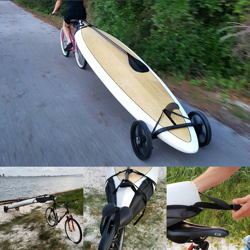 SUP Bike Trailer one road and how SUP Wheels connects to bike seat.